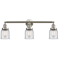 Innovations Lighting 205-SN-S-G52 Small Bell 3 Light 30 inch Brushed Satin Nickel Bathroom Fixture Wall Light Adjustable