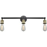 Innovations Lighting 205NH-BAB Bare Bulb 3 Light 30 inch Black Antique Brass Bathroom Fixture Wall Light
