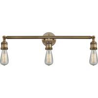 Innovations Lighting 205NH-BB Bare Bulb 3 Light 30 inch Brushed Brass Bathroom Fixture Wall Light