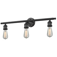 Innovations Lighting 205NH-BK Bare Bulb 3 Light 30 inch Matte Black Bath Vanity Light Wall Light Franklin Restoration