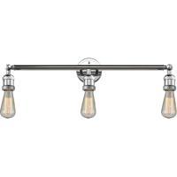 Innovations Lighting 205NH-PC Bare Bulb 3 Light 30 inch Polished Chrome Bathroom Fixture Wall Light
