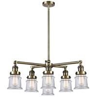 Innovations Lighting 207-6CR-AB-G182S Small Canton 6 Light 28 inch Antique Brass Chandelier Ceiling Light Franklin Restoration