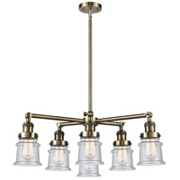 Innovations Lighting 207-6CR-AB-G184S Small Canton 6 Light 28 inch Antique Brass Chandelier Ceiling Light Franklin Restoration
