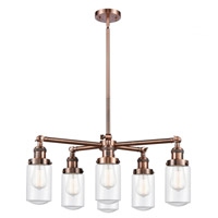 Innovations Lighting 207-6CR-AC-G312 Dover 6 Light 27 inch Antique Copper Chandelier Ceiling Light Franklin Restoration