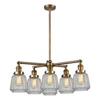 Innovations Lighting 207-6CR-BB-G1 Halophane 6 Light 32 inch Brushed Brass Chandelier Ceiling Light Franklin Restoration