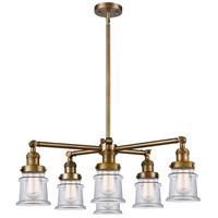 Innovations Lighting 207-6CR-BB-G182S Small Canton 6 Light 28 inch Brushed Brass Chandelier Ceiling Light Franklin Restoration