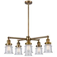 Innovations Lighting 207-6CR-BB-G184S Small Canton 6 Light 28 inch Brushed Brass Chandelier Ceiling Light Franklin Restoration