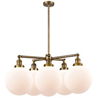 Innovations Lighting 207-6CR-BB-G201-10 X-Large Beacon 6 Light 33 inch Brushed Brass Chandelier Ceiling Light Franklin Restoration