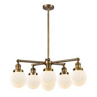 Innovations Lighting 207-6CR-BB-G201-6 Beacon 6 Light 30 inch Brushed Brass Chandelier Ceiling Light Franklin Restoration