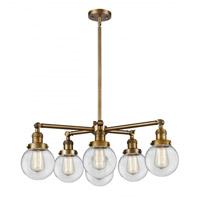 Innovations Lighting 207-6CR-BB-G202-6 Beacon 6 Light 30 inch Brushed Brass Chandelier Ceiling Light Franklin Restoration