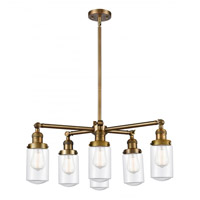 Innovations Lighting 207-6CR-BB-G312 Dover 6 Light 27 inch Brushed Brass Chandelier Ceiling Light Franklin Restoration