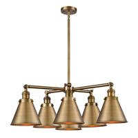 Innovations Lighting 207-6CR-BB-M13-BB Appalachian 6 Light 32 inch Brushed Brass Chandelier Ceiling Light Franklin Restoration