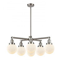 Satin Nickel Glass Beacon Chandeliers