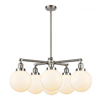 Innovations Lighting 207-6CR-SN-G201-8 Large Beacon 6 Light 31 inch Satin Nickel Chandelier Ceiling Light Franklin Restoration