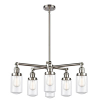 Innovations Lighting 207-6CR-SN-G312 Dover 6 Light 27 inch Satin Nickel Chandelier Ceiling Light Franklin Restoration