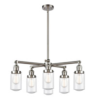 Innovations Lighting 207-6CR-SN-G314 Dover 6 Light 27 inch Satin Nickel Chandelier Ceiling Light Franklin Restoration