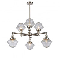 Innovations Lighting 207-6CR-SN-G534 Small Oxford 6 Light 30 inch Brushed Satin Nickel Chandelier Ceiling Light Franklin Restoration