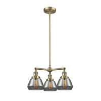 Innovations Lighting 207-AB-G173 Fulton 3 Light 22 inch Antique Brass Chandelier Ceiling Light