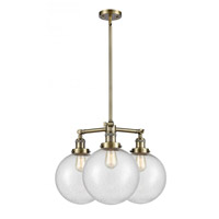 Innovations Lighting 207-AB-G204-10 X-Large Beacon 3 Light 24 inch Antique Brass Chandelier Ceiling Light Franklin Restoration