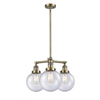 Innovations Lighting 207-AB-G204-8 Large Beacon 3 Light 22 inch Antique Brass Chandelier Ceiling Light Franklin Restoration