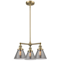Innovations Lighting 207-AB-G43-LED Large Cone LED 22 inch Antique Brass Chandelier Ceiling Light Franklin Restoration