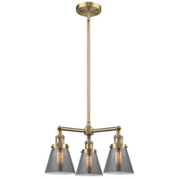 Innovations Lighting 207-AB-G63-LED Small Cone LED 19 inch Antique Brass Chandelier Ceiling Light Franklin Restoration