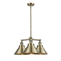 Innovations Lighting 207-AB-M10 Briarcliff 3 Light 24 inch Antique Brass Chandelier Ceiling Light Franklin Restoration