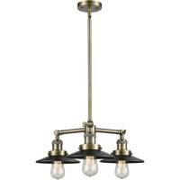 Innovations Lighting 207-AB-M6 Railroad 3 Light 19 inch Antique Brass Chandelier Ceiling Light, Franklin Restoration