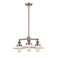 Innovations Lighting 207-AC Bare Bulb 3 Light 15 inch Antique Copper Chandelier Ceiling Light Franklin Restoration