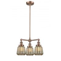 Innovations Lighting 207-AC-G146 Chatham 3 Light 24 inch Antique Copper Chandelier Ceiling Light Franklin Restoration
