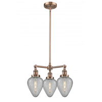 Innovations Lighting 207-AC-G165 Geneseo 3 Light 26 inch Antique Copper Chandelier Ceiling Light Franklin Restoration