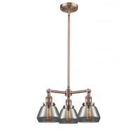 Innovations Lighting 207-AC-G173 Fulton 3 Light 22 inch Antique Copper Chandelier Ceiling Light Franklin Restoration