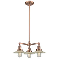 Innovations Lighting 207-AC-G2-LED Halophane LED 22 inch Antique Copper Chandelier Ceiling Light