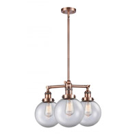 Innovations Lighting 207-AC-G202-8 Large Beacon 3 Light 22 inch Antique Copper Chandelier Ceiling Light Franklin Restoration