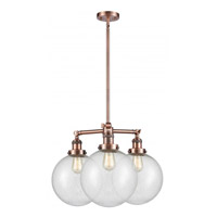 Innovations Lighting 207-AC-G204-10 X-Large Beacon 3 Light 24 inch Antique Copper Chandelier Ceiling Light Franklin Restoration