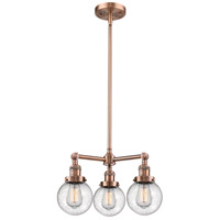 Innovations Lighting 207-AC-G204-6-LED Beacon LED 19 inch Antique Copper Chandelier Ceiling Light Franklin Restoration