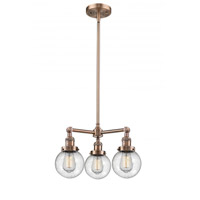 Innovations Lighting 207-AC-G204-6 Beacon 3 Light 19 inch Antique Copper Chandelier Ceiling Light