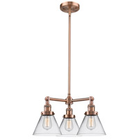 Innovations Lighting 207-AC-G42-LED Large Cone LED 22 inch Antique Copper Chandelier Ceiling Light Franklin Restoration