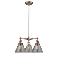 Innovations Lighting 207-AC-G43 Large Cone 3 Light 22 inch Antique Copper Chandelier Ceiling Light Franklin Restoration