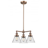 Innovations Lighting 207-AC-G44 Large Cone 3 Light 22 inch Antique Copper Chandelier Ceiling Light Franklin Restoration
