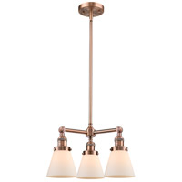 Innovations Lighting 207-AC-G61-LED Small Cone LED 19 inch Antique Copper Chandelier Ceiling Light Franklin Restoration