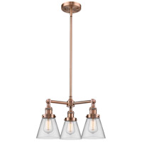 Innovations Lighting 207-AC-G62-LED Small Cone LED 19 inch Antique Copper Chandelier Ceiling Light Franklin Restoration