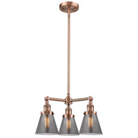 Innovations Lighting 207-AC-G63-LED Small Cone LED 19 inch Antique Copper Chandelier Ceiling Light Franklin Restoration