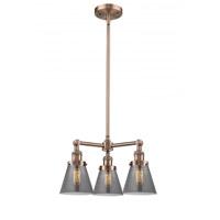 Innovations Lighting 207-AC-G63 Small Cone 3 Light 19 inch Antique Copper Chandelier Ceiling Light Franklin Restoration