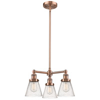 Innovations Lighting 207-AC-G64-LED Small Cone LED 19 inch Antique Copper Chandelier Ceiling Light Franklin Restoration