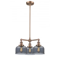 Signature 3 Light 22 inch Antique Copper Chandelier Ceiling Light, Large, Bell
