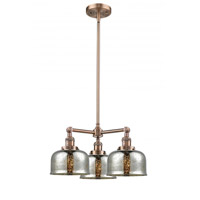 Innovations Lighting 207-AC-G78 Large Bell 3 Light 22 inch Antique Copper Chandelier Ceiling Light Franklin Restoration