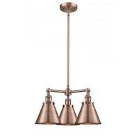 Innovations Lighting 207-AC-M13-AC-LED Appalachian LED 21 inch Antique Copper Chandelier Ceiling Light Franklin Restoration