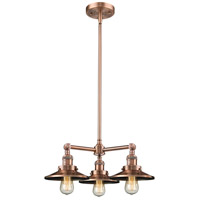 Innovations Lighting 207-AC-M3 Railroad 3 Light 19 inch Antique Copper Chandelier Ceiling Light Franklin Restoration