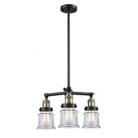 Innovations Lighting 207-BAB-G182S Small Canton 3 Light 18 inch Black Antique Brass Chandelier Ceiling Light Franklin Restoration